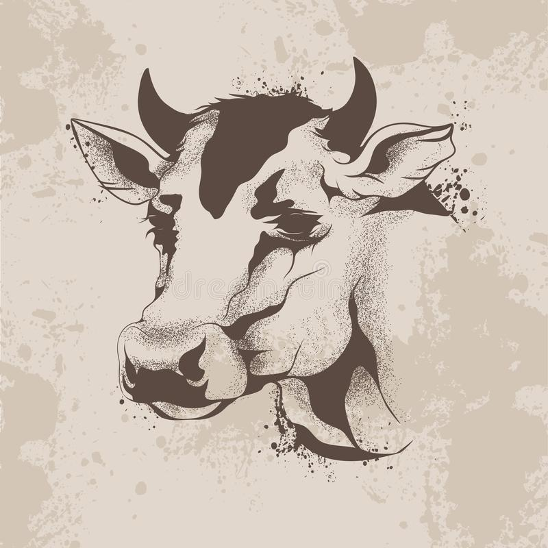 Graphic ink drawing, sketch the head of a cow vector illustration