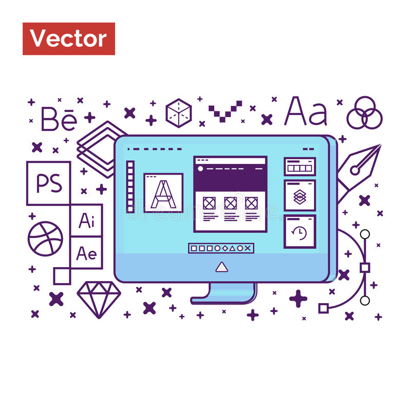 Graphic interface designer workspace and tools for create creative ideas for landing site royalty free stock photos