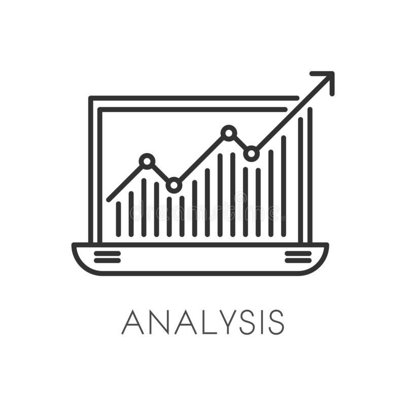 Graphic in laptop, business analysis and developing strategy isolated icon stock illustration