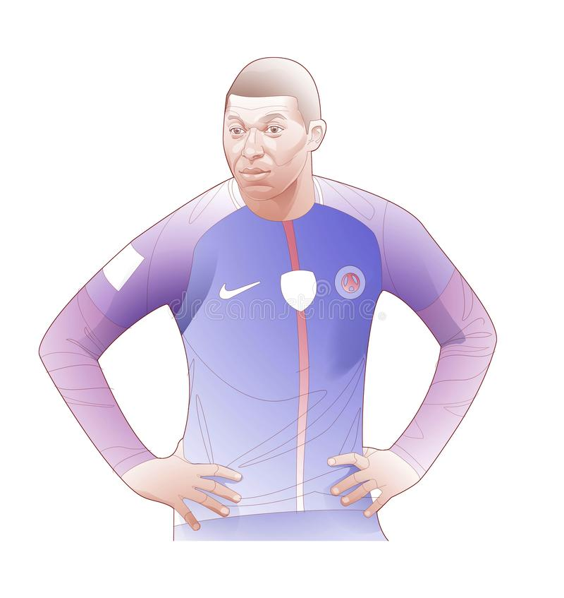 Graphic line illustration of soccer player kylian mbappe royalty free stock image