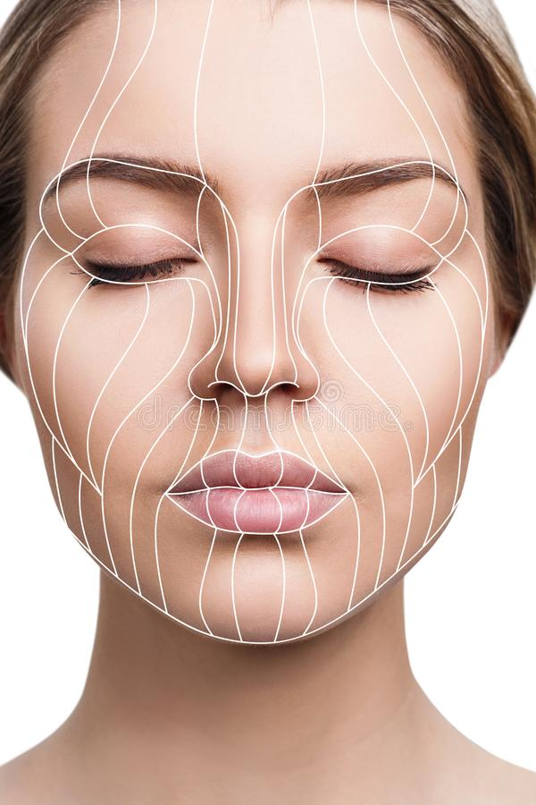 Graphic lines showing facial lifting effect on skin. stock photo