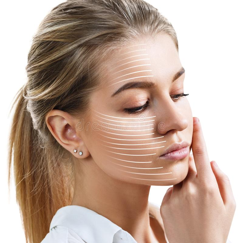 Graphic lines shows facial lifting effect on skin. royalty free stock photo