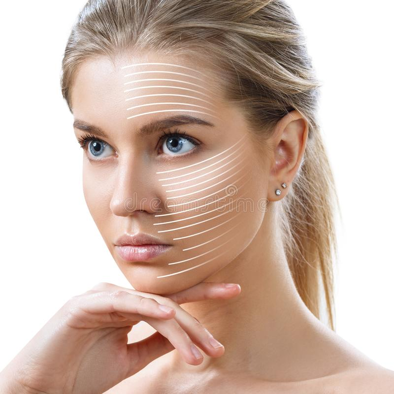 Graphic lines shows facial lifting effect on skin. stock photo