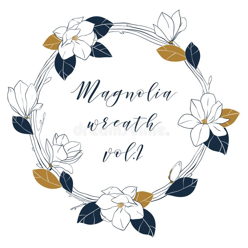 Graphic magnolia wreath in deep blue and bronze colors. Trendy vector hand draw illustartion with magnolia flowers,buds and leaves royalty free illustration