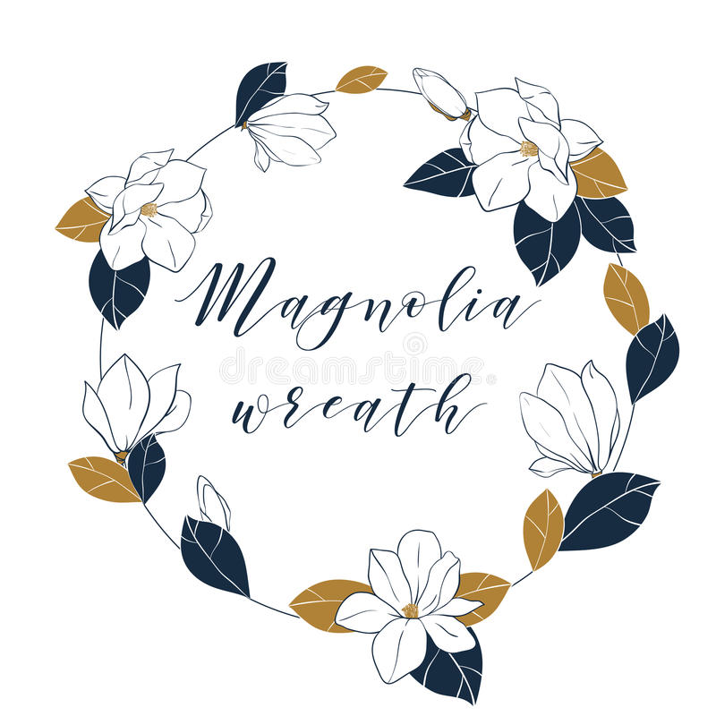 Graphic magnolia wreath in deep blue and bronze colors. Trendy vector hand draw illustartion with magnolia flowers,buds and leaves stock illustration