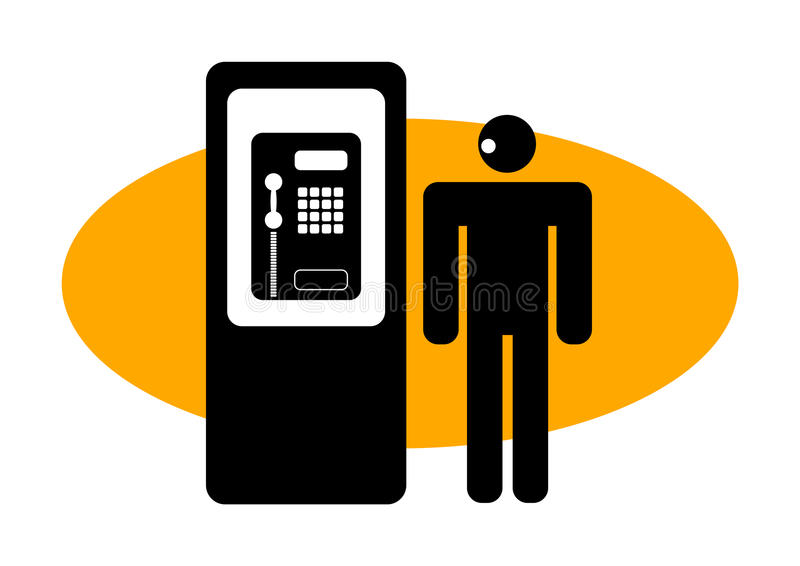 Graphic man at a public phone