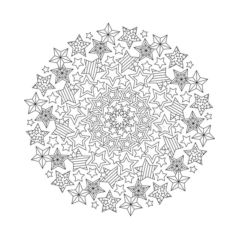 Graphic Mandala With Outline Stars
