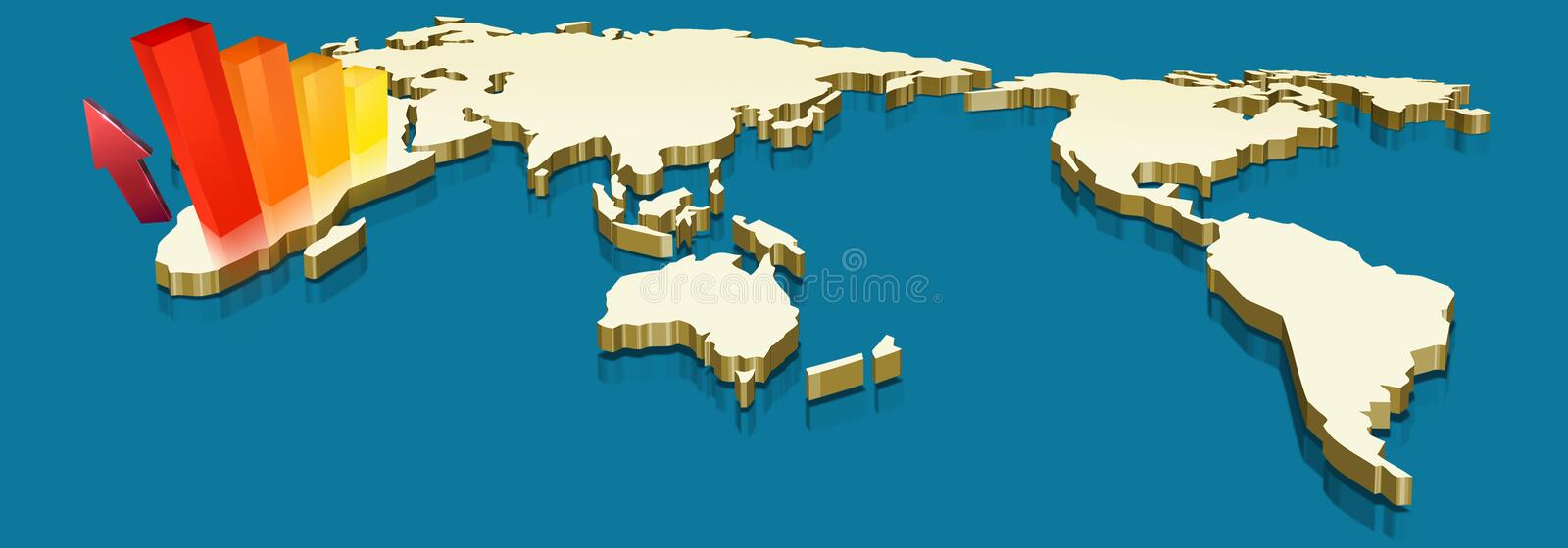 Graphic map. Map gold of the world on blue color background and graphics on south america royalty free illustration