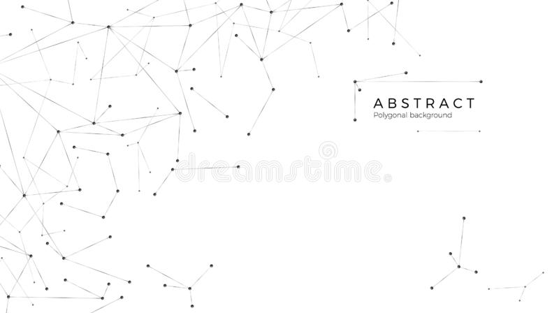 Graphic Modeling Internet or Global Network. Technology background. Molecular Structure - Dots and Lines. Vector illustration. Isolated on white background stock illustration