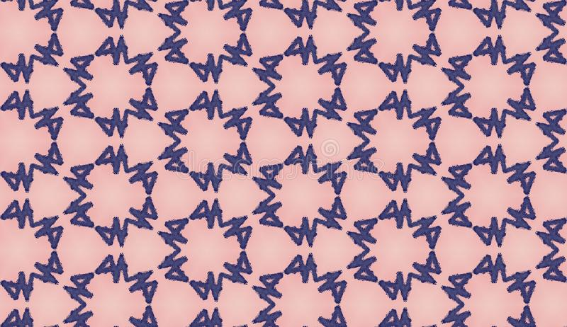 Graphic modern seamless pattern on Pink Peach. Seamless raster linear ornament. Trendy Decoration with Beautiful blue elements. Pink and blue seamless stock illustration