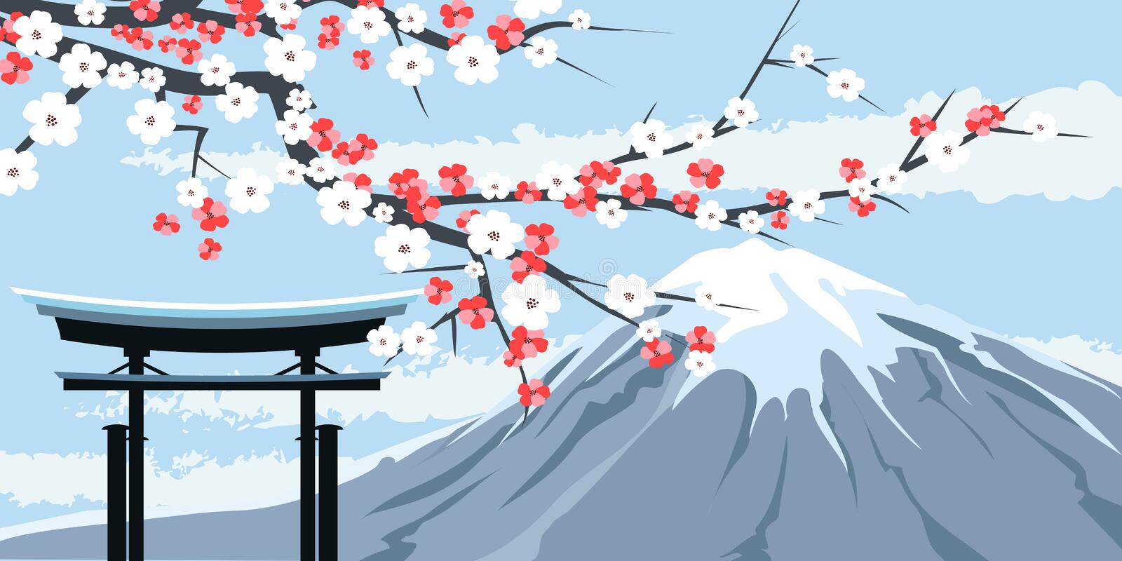 Graphic of Mount Fuji with Cherry Blossoms. Graphic Illustration of Mount Fuji with Cherry Blossoms and Traditional Gate in Foreground royalty free illustration