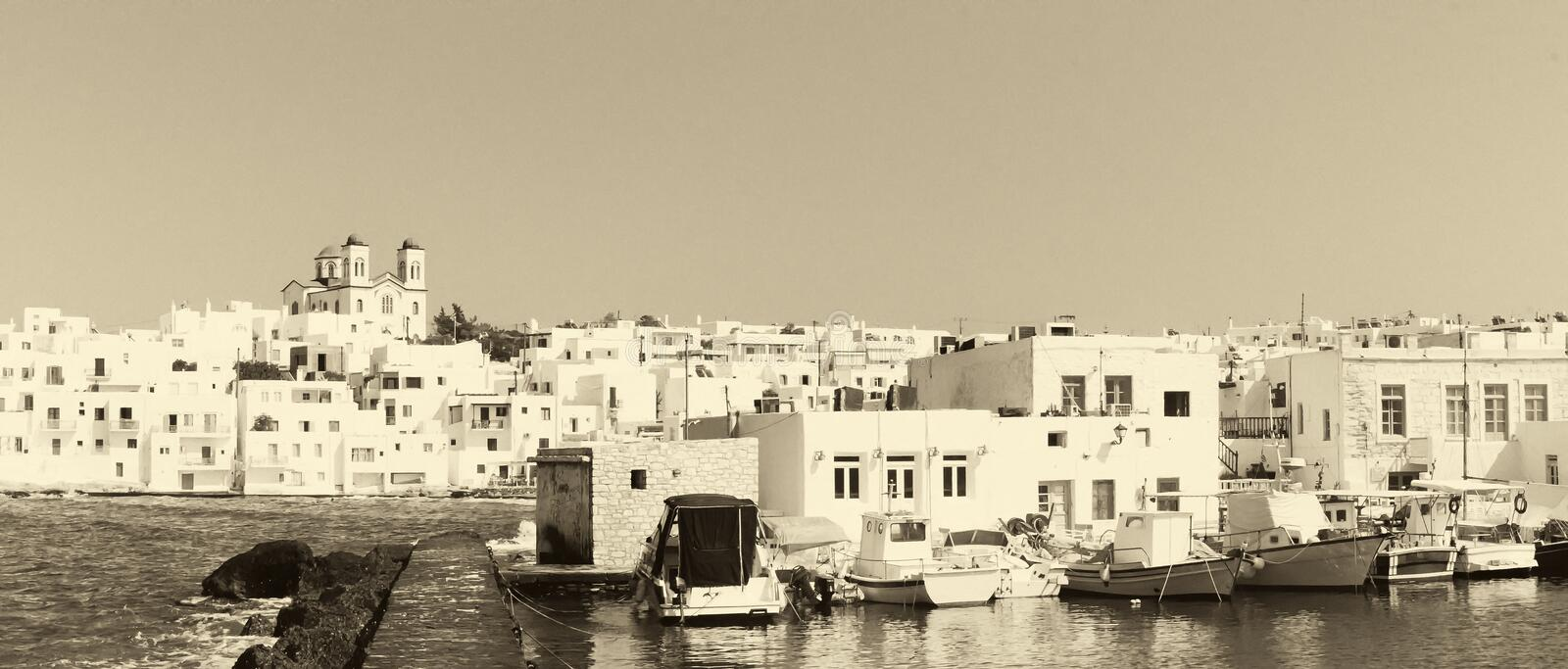 Graphic Naoussa's port at Paros island in Greece in old retro colors. A famous touristic destination. royalty free stock photography