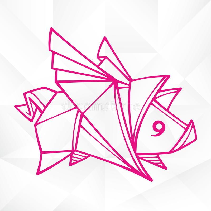 Graphic Origami Flying Pig. Geometric Icon of Paper Piglet with Wings vector illustration
