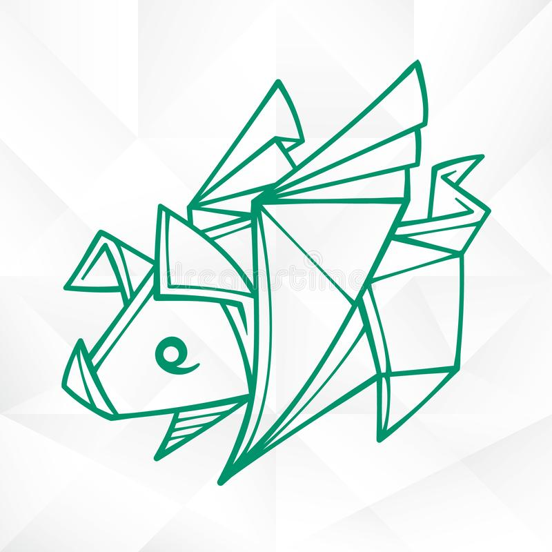 Graphic Origami Flying Pig. Geometric Icon of Paper Piglet with Wings. Vector Origami Flying Pig. Geometric Icon of Paper Piglet with Wings on White Background royalty free illustration