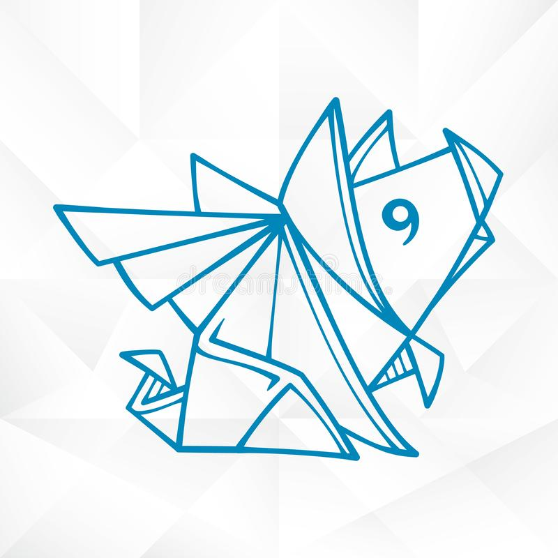 Graphic Origami Flying Pig. Geometric Icon of Paper Piglet with Wings stock illustration