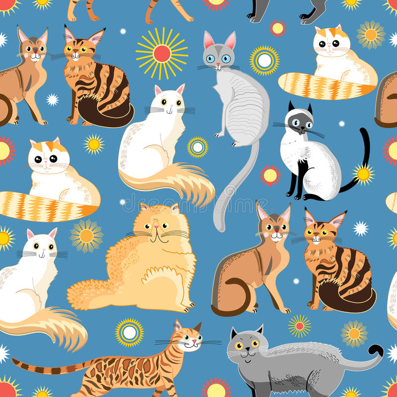 Graphic pattern different breeds of cats stock illustration