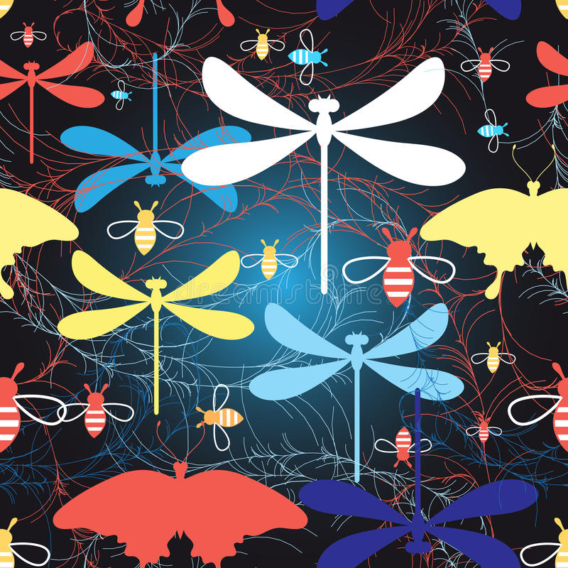 Graphic pattern different insects royalty free illustration
