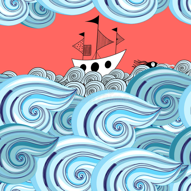 Graphic pattern of waves and ship royalty free illustration