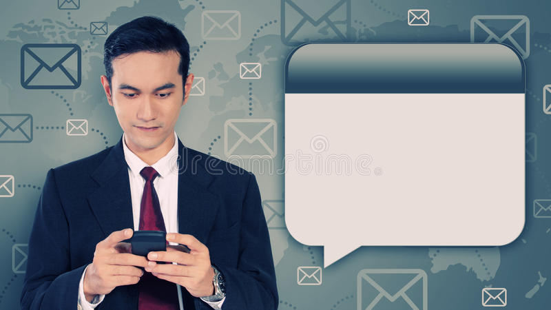 Graphic photo illustration of businessman and message technology stock photo