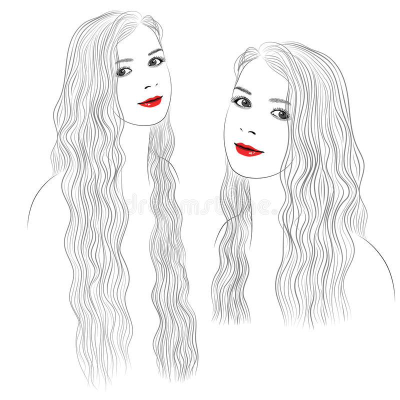 Graphic portrait of a girl with long wavy hair -. Illustration stock illustration