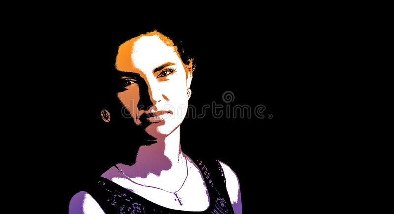 Graphic portrait of a young beautiful woman stock illustration