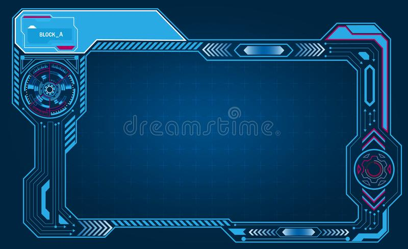 Graphic presentation asymmetric computer panel, frame, display with control technology. illustration stock illustration