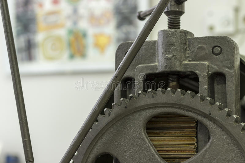 Graphic press. Wheels and gears of the graphic press stock photos