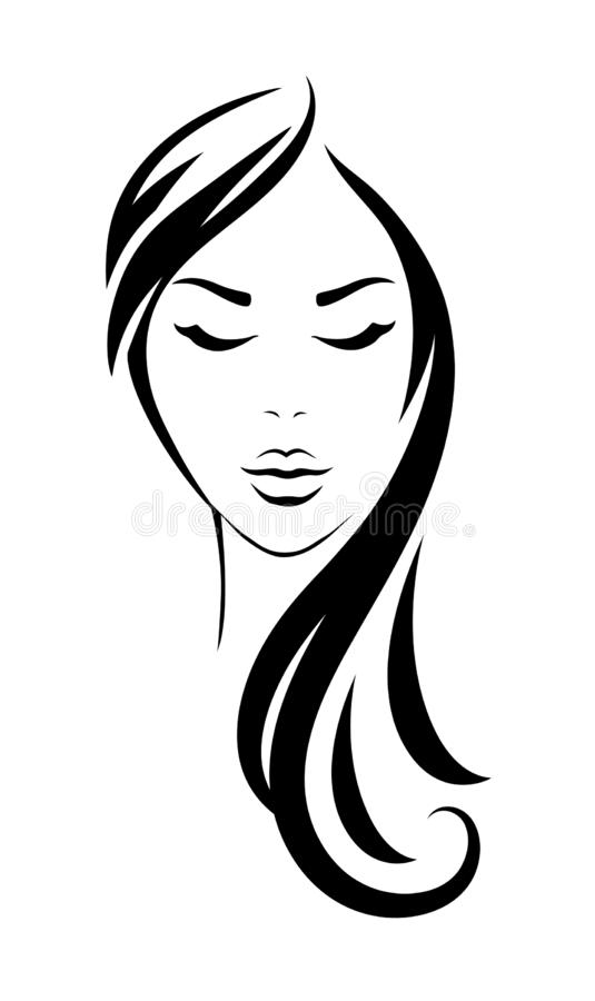 Young woman head with black long hair stock illustration
