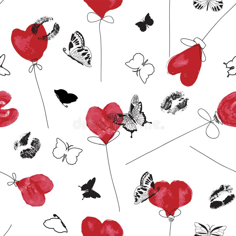 Graphic red white and black love symbol pattern with watercolor heart balloons, inky lip prints and butterfly silhouettes. Graphic red white and black love royalty free illustration