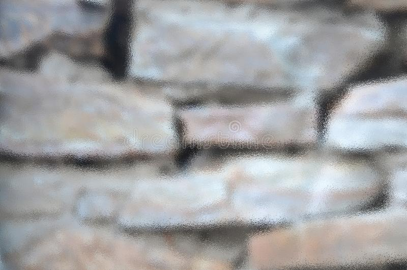 Masonry stone wall covered with moisture in computer processing. The graphic resource consists of wet masonry walls stock photography