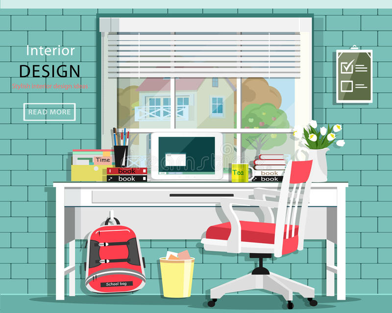 Graphic room set with desk, chair, window, bag, books, note book. Stylish home office. Cute room. royalty free illustration