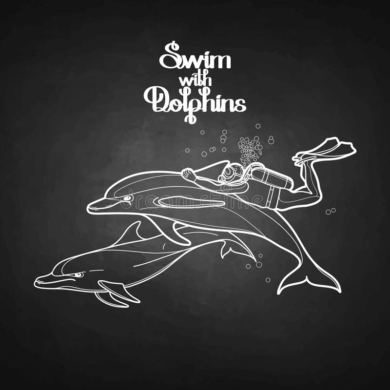 Graphic scuba diver riding the dolphin vector illustration