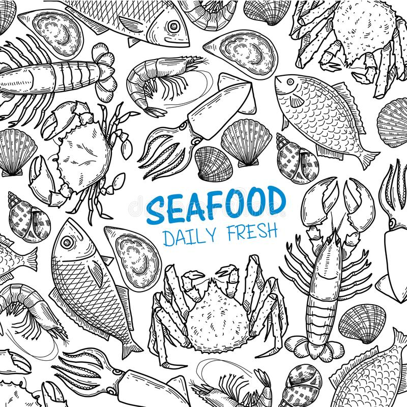 Graphic seafood, vector vector illustration