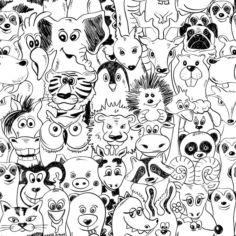 Graphic Seamless Pattern With Animals. vector illustration