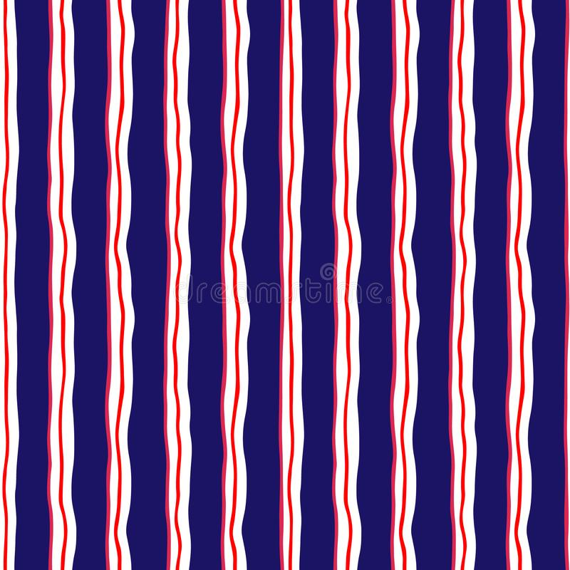 Graphic seamless pattern of hand-drawn stylized wavy red, dark b vector illustration