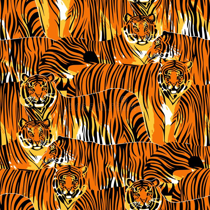 Graphic seamless pattern of standing and walking tigers. royalty free illustration
