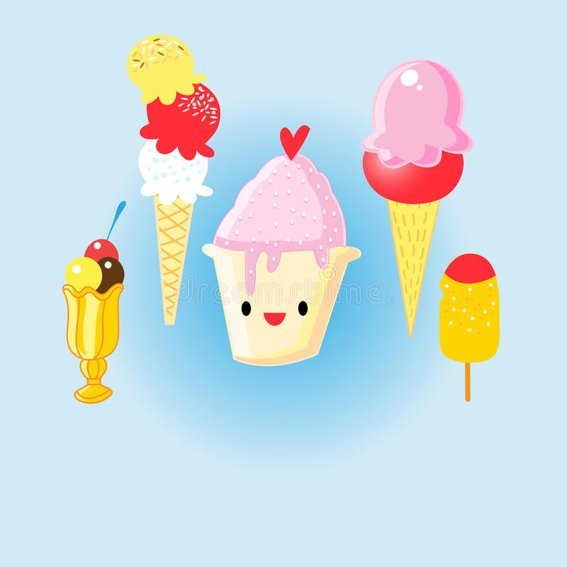 Graphic set of cheerful delicious ice cream. On a blue background vector illustration