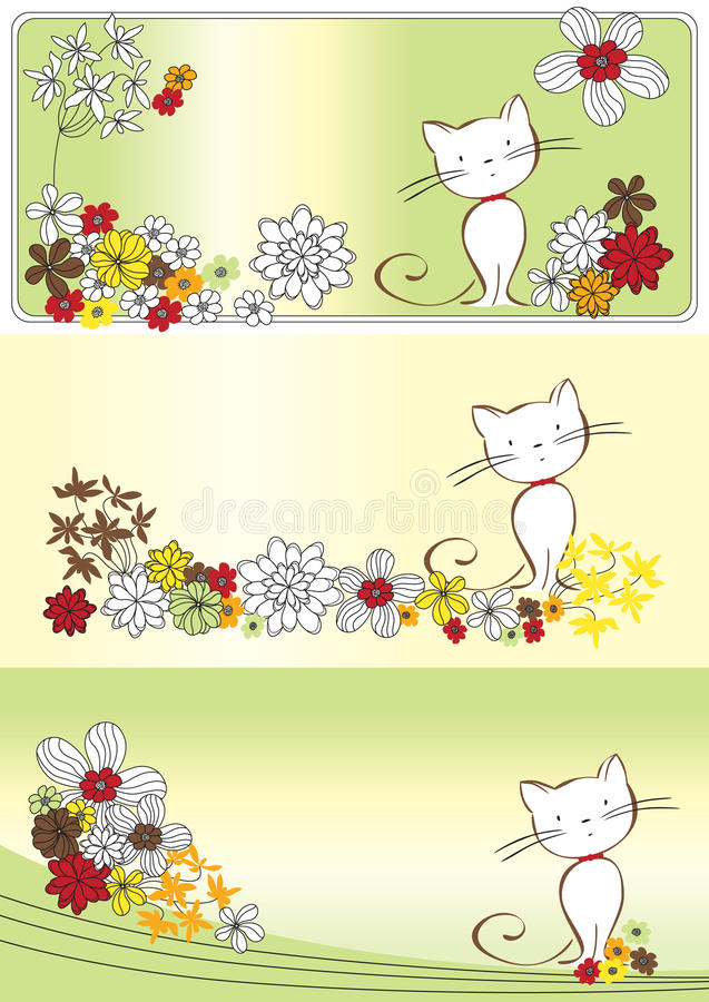 Graphic Set With Flowers And Cat Stock Image