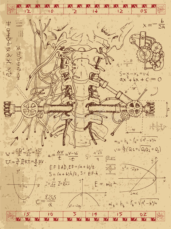 Graphic set with human anatomy throat and mechanisms. Graphic set with math formulas, human anatomy throat and mechanism in steam punk style. Hand drawn vintage royalty free illustration