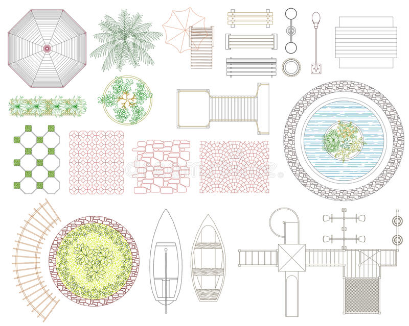 Graphic set of recreation and landscape elements. Top view. Vector illustration. on white background stock illustration