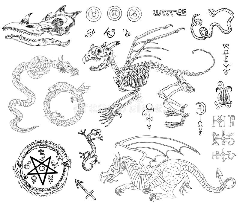 Graphic set with skeletons, dragons and mystic symbols stock illustration