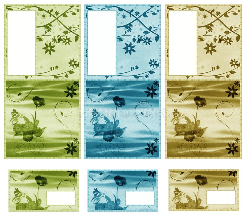 Graphic Set Whit Flowers Royalty Free Stock Images