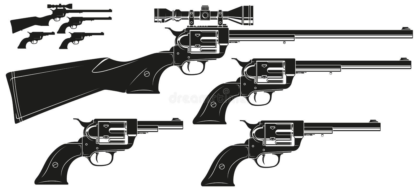 Graphic silhouette old revolver with optical sight. Graphic black and white detailed silhouette old revolver with optical sight. Isolated on white background stock illustration