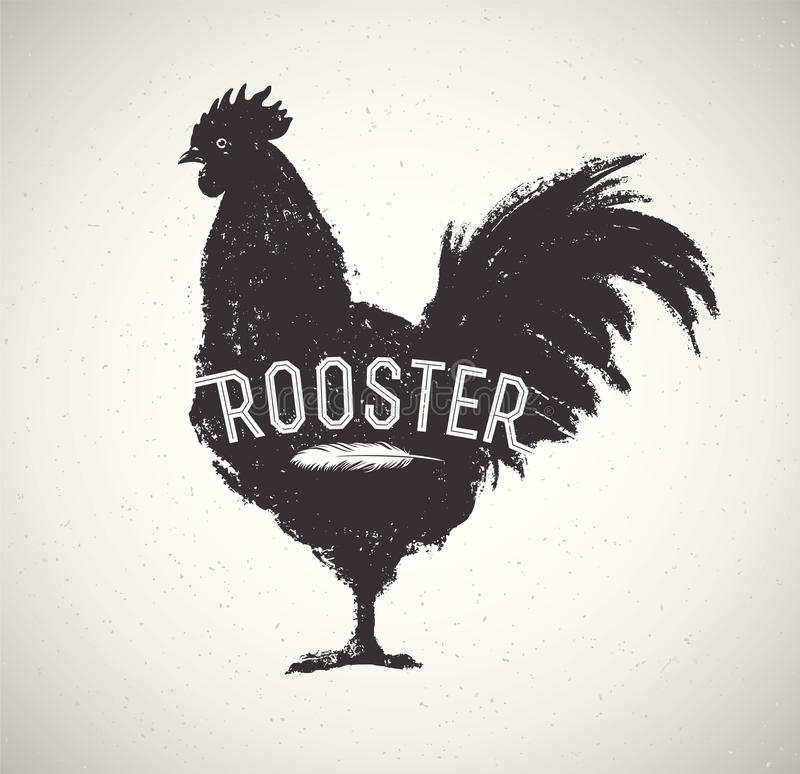 Graphic silhouette rooster. Graphic silhouette of a rooster and inscription vector illustration