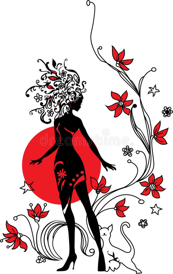 Graphic silhouette of a woman. On floral background with cat royalty free illustration