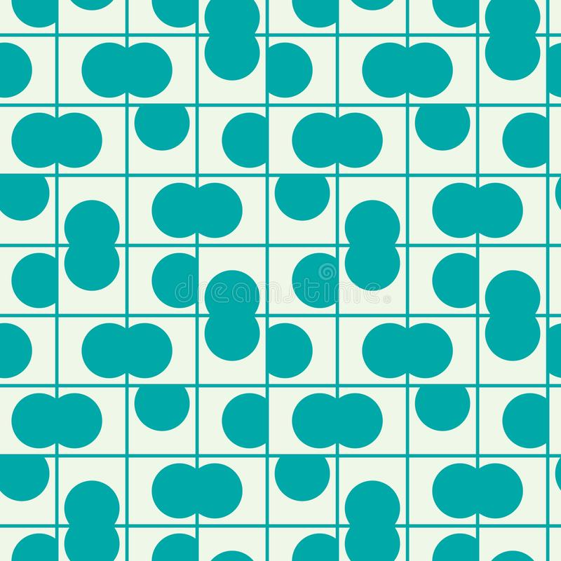 Graphic simple ornamental tile, vector repeated pattern made using circles. Vintage art abstract seamless texture can be used as royalty free illustration