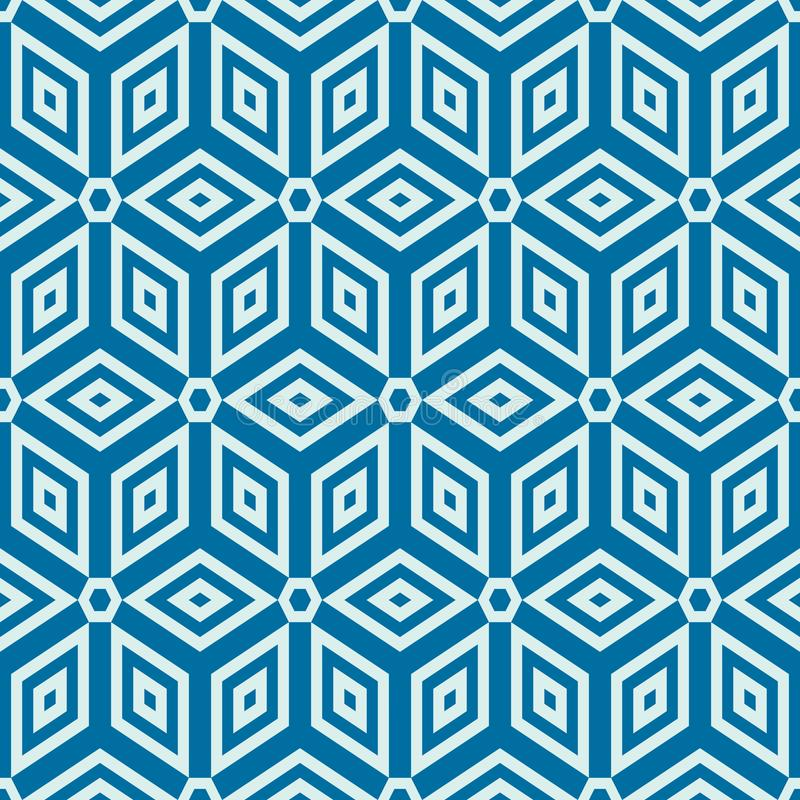 Graphic simple ornamental tile, vector repeated pattern made using cubes and hexagons. Vintage art abstract seamless texture can royalty free illustration