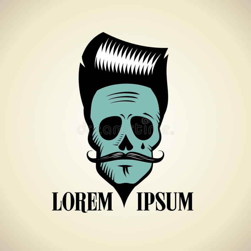 Graphic skull with hipster hairstyle and moustache. vector illustration