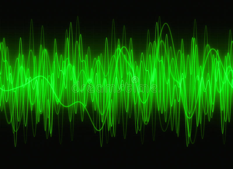 Graphic sound waves. Green graphic sound waves background royalty free illustration