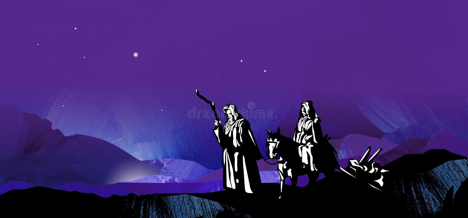 Graphic starry Christmas night journey to Bethlehem with mountains. Graphic illustration of dark starry Christmas night composed of textured oil paint background vector illustration